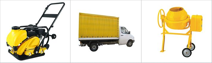 Tool rent, paint mixing, transport rent, cargo transportation