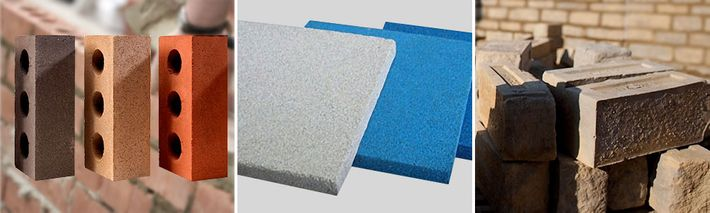 Chamotte bricks and moulds, thermal insulation materials and construction materials
